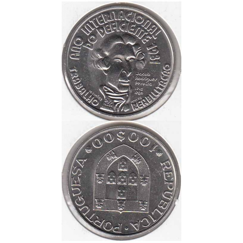 100 Escudos Cupro-Níquel 1981 Ano Intern. do Deficiente (moeda 100$00 Ano Intern. Deficiente)