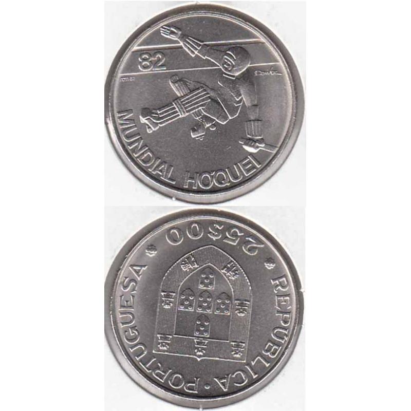 25 Escudos 1983 Mundial Hóquei 82 cupro-níquel (moeda 25$00 Escudos 1983 Mundial Hóquei 82)