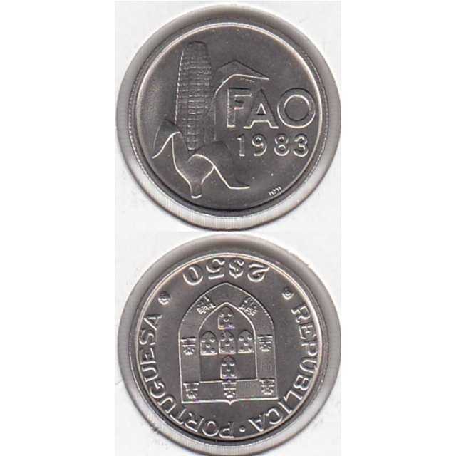"""2$50 CUPRO-NÍQUEL 1983 """"FAO"""" (BELA/SOB)"""
