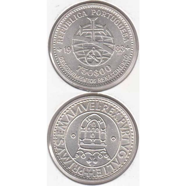 """750$00 PRATA 1983 """"XVII EXPOSIÇÃO"""" (BELA/SOB)"""