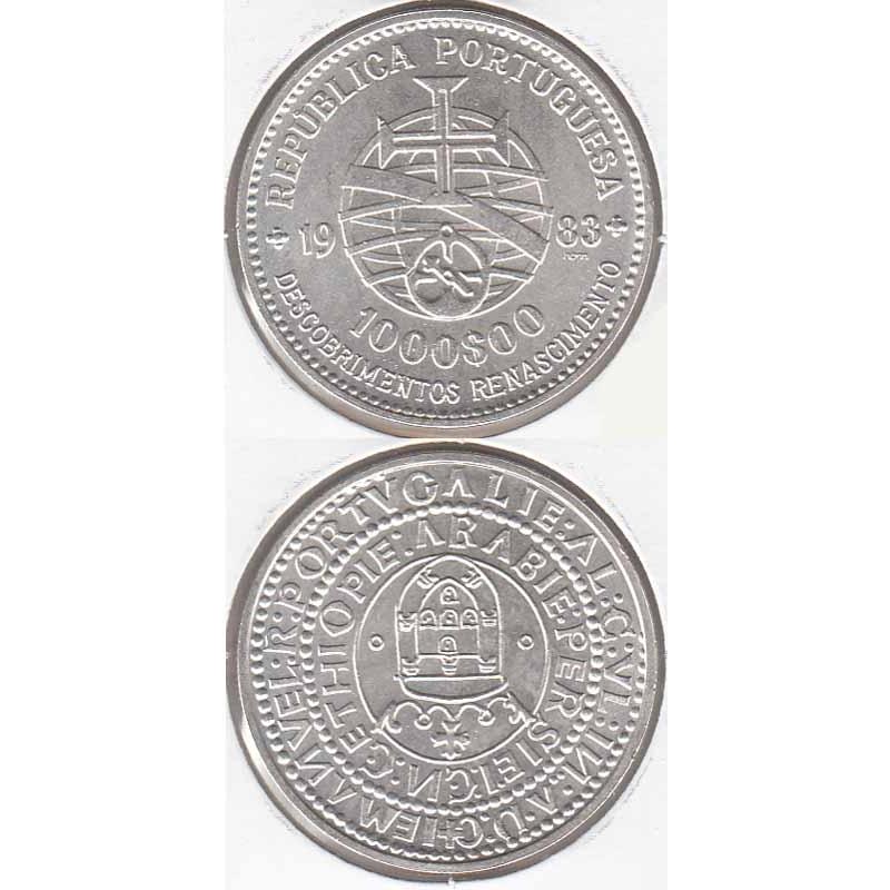 """1000$00 PRATA 1983 """"XVII EXPOSIÇÃO"""" (BELA/SOB)"""
