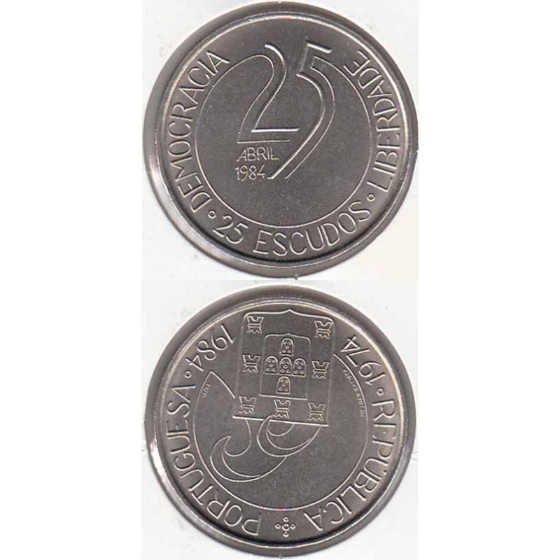 "25$00 CUPRO-NÍQUEL 1984 ""25 ABRIL"" (BELA/SOB)"