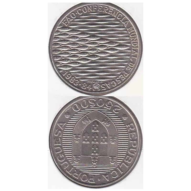 250 Escudos 1983 Fao - Pescas (moeda 250$00 1983 Fao)