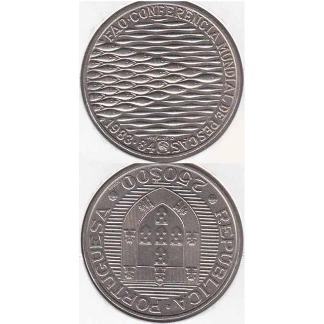 """250$00 CUPRO-NÍQUEL 1983 """"FAO - PESCAS"""" (BELA/SOB)"""
