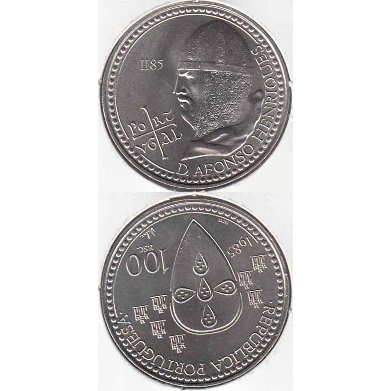 """100$00 CUPRO-NÍQUEL 1985 """"D. AFONSO HENRIQUES"""" (BELA/SOB)"""