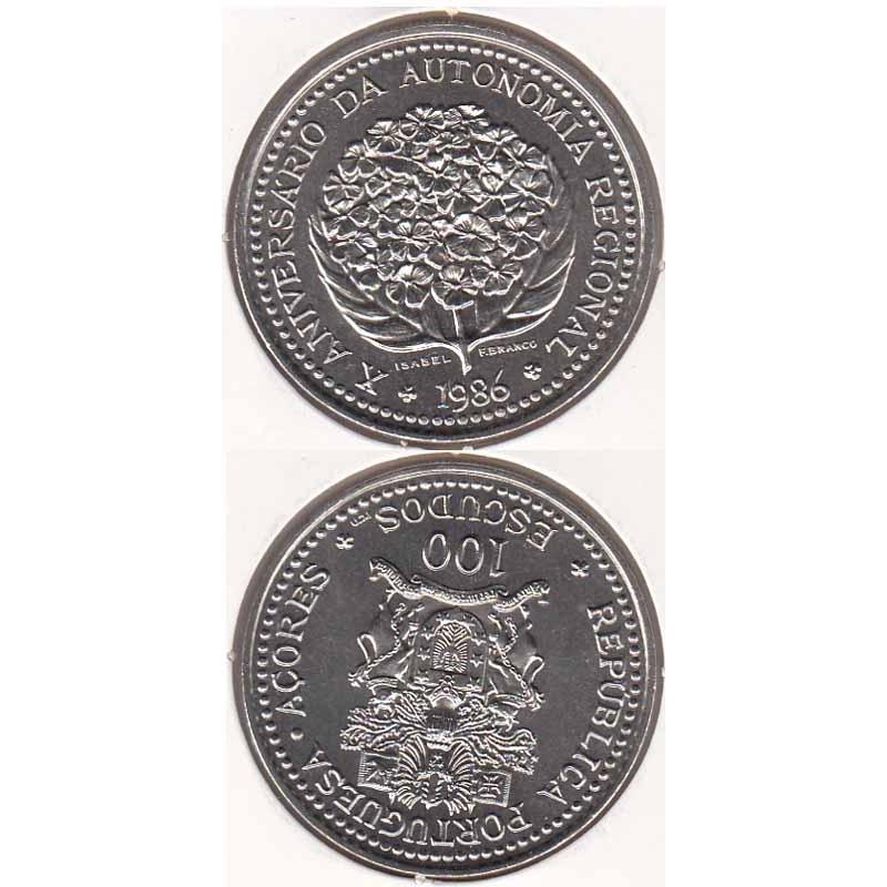 "100$00 CUPRO-NÍQUEL 1986 ""10º ANIV. AUT. AÇORES"" (BELA/SOB)"