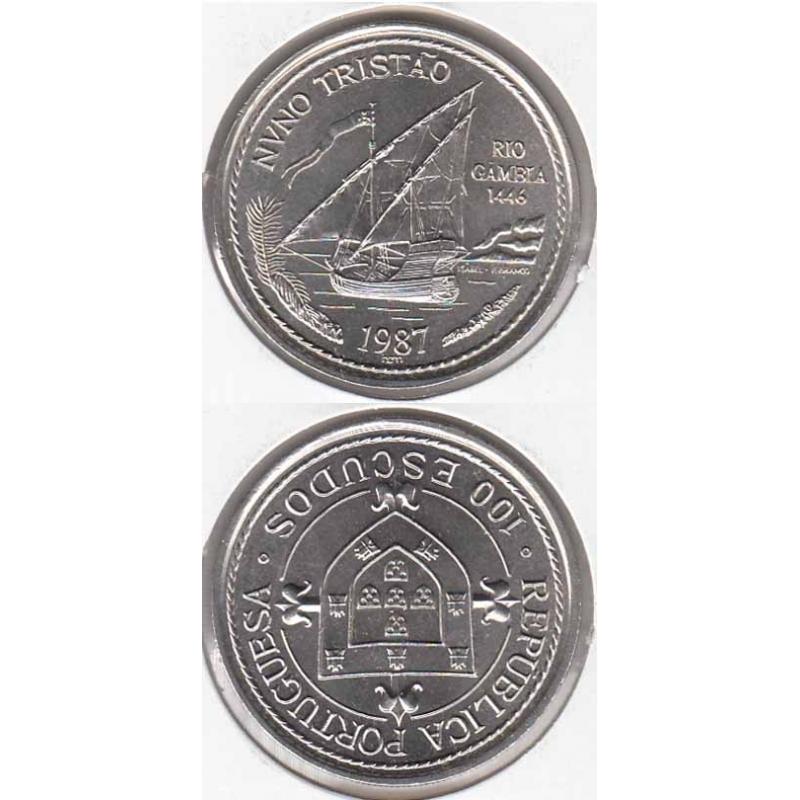 """100$00 CUPRO-NÍQUEL 1987 """"NUNO TRISTÃO"""" (BELA/SOB)"""