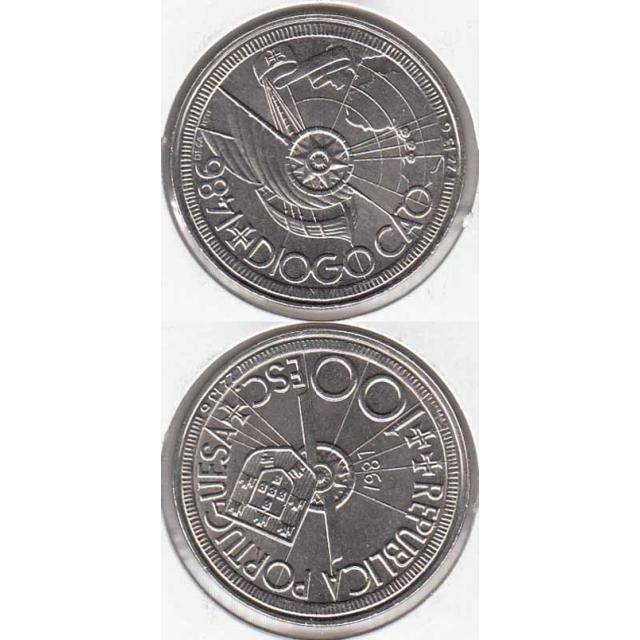 """100$00 CUPRO-NÍQUEL 1987 """"DIOGO CÃO"""" (BELA/SOB)"""