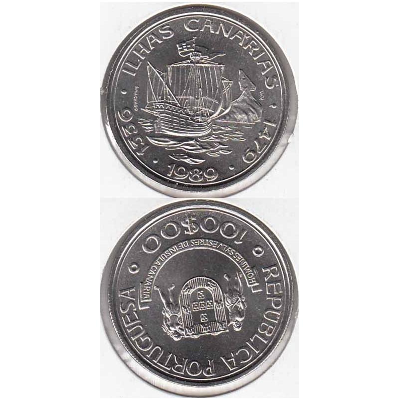 """100$00 CUPRO-NÍQUEL 1989 """"ILHAS CANÁRIAS"""" (BELA/SOB)"""