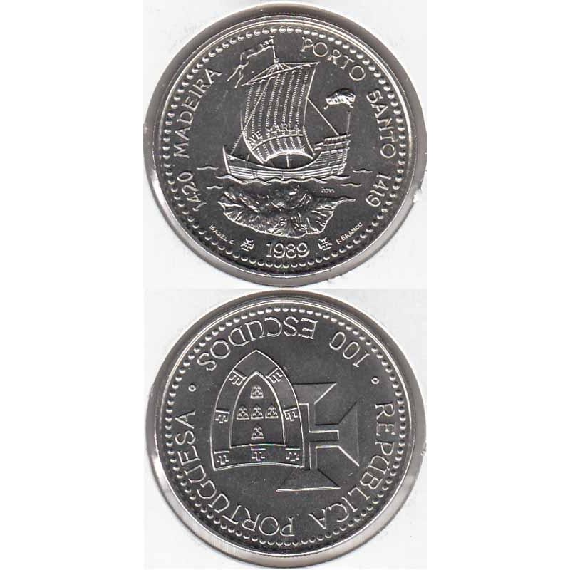"""100$00 CUPRO-NÍQUEL 1989 """"MADEIRA / PORTO SANTO"""" (BELA/SOB)"""