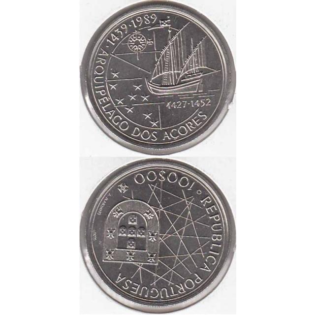 """100$00 CUPRO-NÍQUEL 1989 """"ARQUIPELAGO DOS AÇORES"""" (BELA/SOB)"""