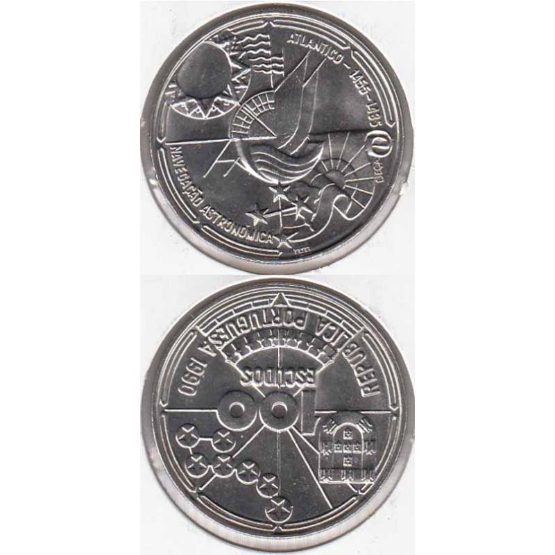 """100$00 CUPRO-NÍQUEL 1990 """"NAVEGAÇÃO ASTRONÓMICA"""" (BELA/SOB)"""