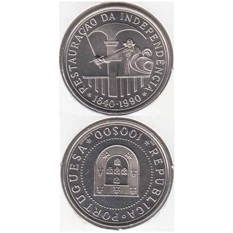 """100$00 CUPRO-NÍQUEL 1990 """"RESTAURAÇÃO INDEPENDENCIA"""" (BELA/SOB)"""