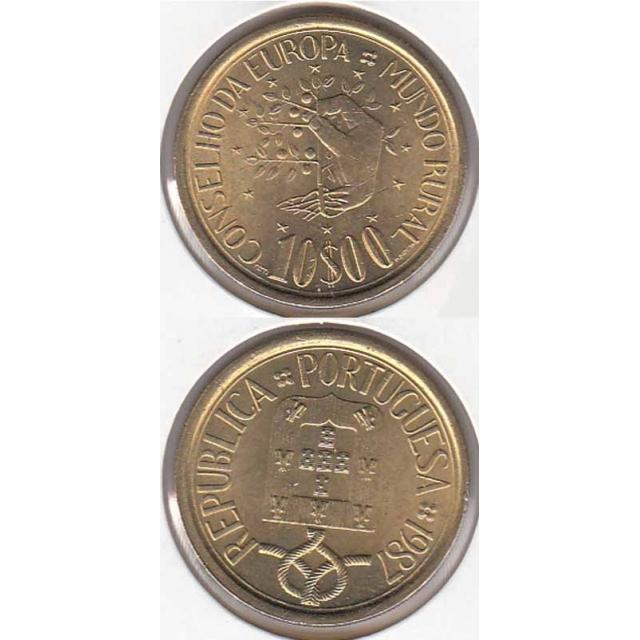 """10$00 LATÃO NÍQUEL 1987 """"MUNDO RURAL"""" (BELA/SOB)"""