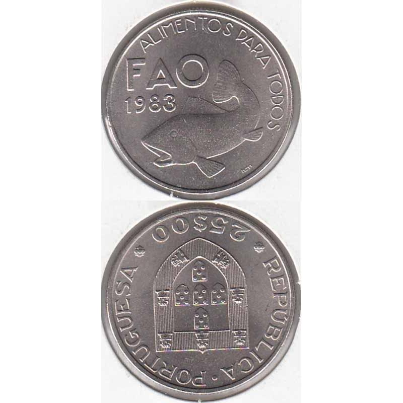 """25$00 CUPRO-NÍQUEL 1983 """"FAO"""" (BELA/SOB)"""
