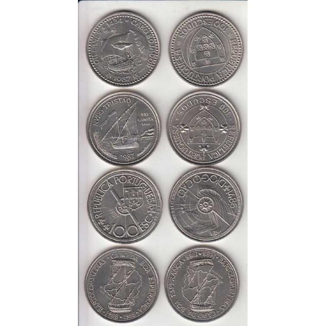 4x Moedas 100$00 CUPRO-NÍQUEL 1987 - I SERIE DESCOBRIMENTOS PORTUGUESES