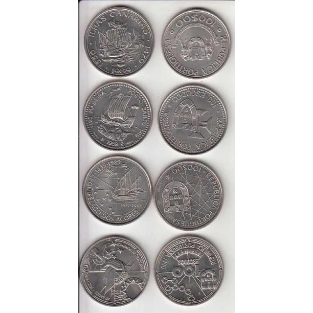 4x Moedas 100$00 CUPRO-NÍQUEL 1989/90 - II SERIE DESCOBRIMENTOS PORTUGUESES