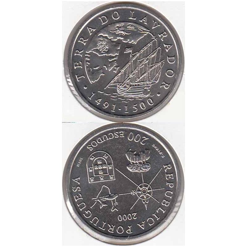 200 Escudos cupro-níquel 2000 Terra do Lavrador (moeda 200$00 Terra do Lavrador)