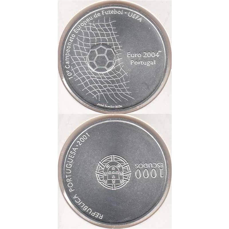 1000 Escudos prata 2001 Futebol Euro 2004 (moeda 1000$00 Futebol Euro 2004)