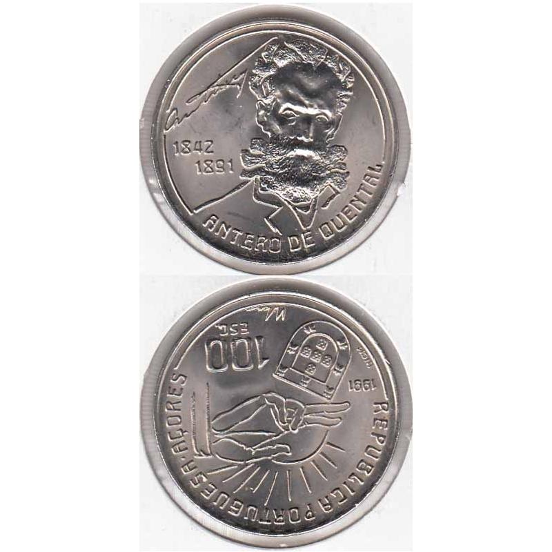 100 Escudos 1991 Antero de Quental (moeda 100$00 Antero de Quental)