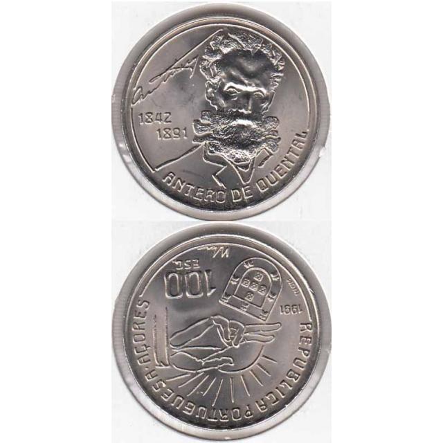 "100$00 CUPRO-NÍQUEL 1991 ""ANTERO DE QUENTAL"" (BELA/SOB)"