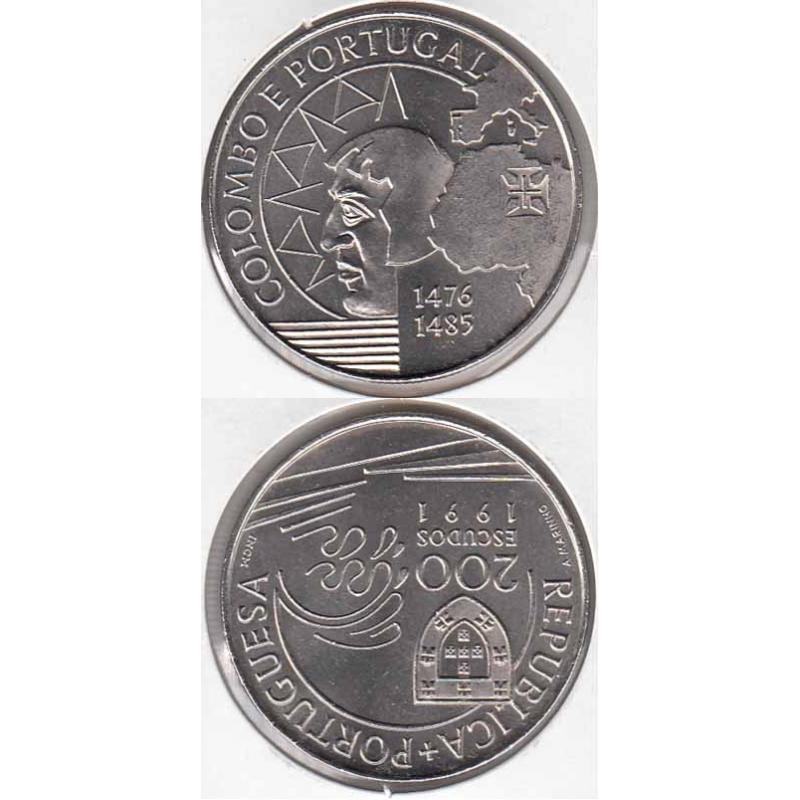 200 Escudos Cupro-níquel 1991 Colombo E Portugal (moeda de 200$00 Colombo E Portugal)