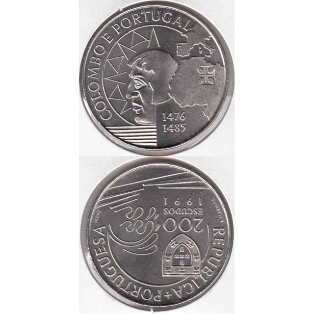 """200$00 CUPRO-NÍQUEL 1991 """"COLOMBO E PORTUGAL"""" (BELA/SOB)"""