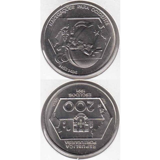 """200$00 CUPRO-NÍQUEL 1991 """"NAVEGAÇÃO PARA OCIDENTE"""" (BELA/SOB)"""