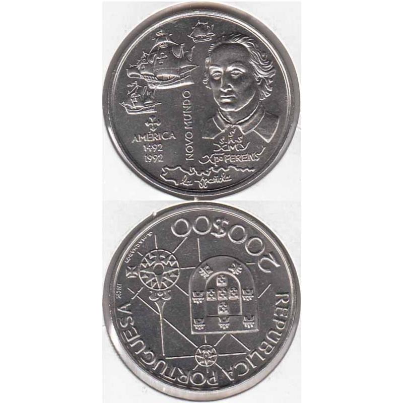 """200$00 CUPRO-NÍQUEL 1992 """"O NOVO MUNDO"""" (BELA/SOB)"""
