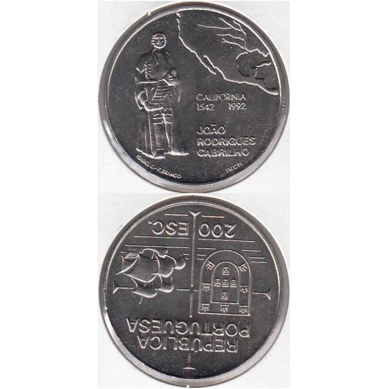 200 Escudos Cupro-níquel 1992 Califórnia (moeda 200$00 Califórnia)