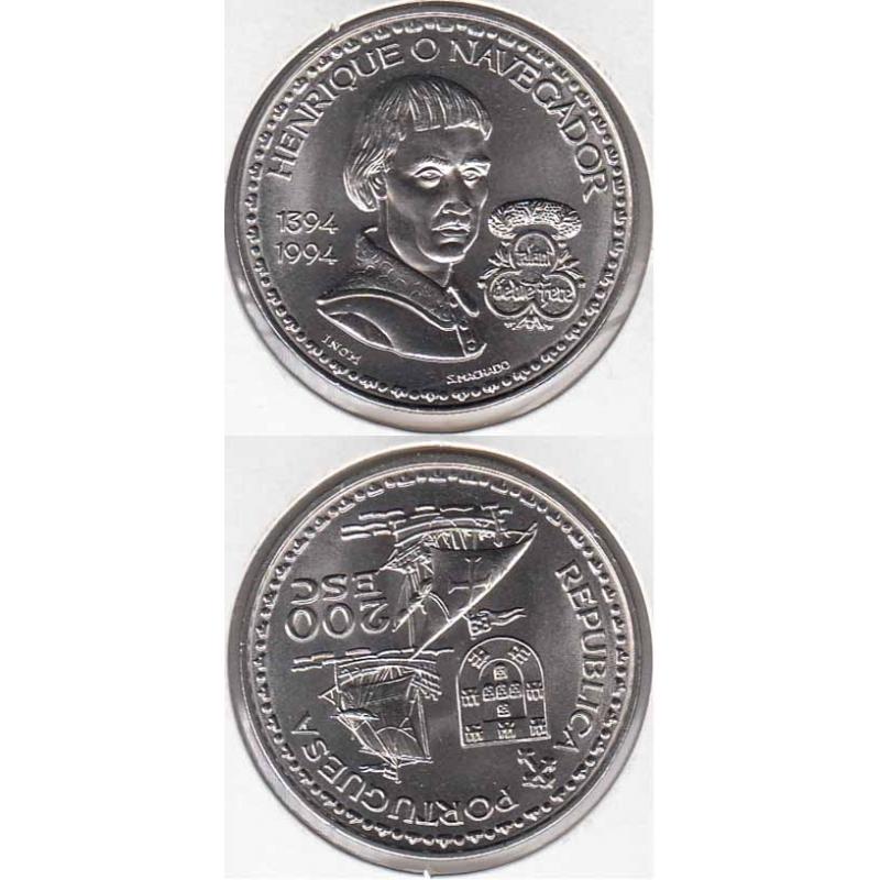 200 Escudos Cupro-níquel 1994 D. Henrique O Navegador (moeda de 200$00 D. Henrique O Navegador