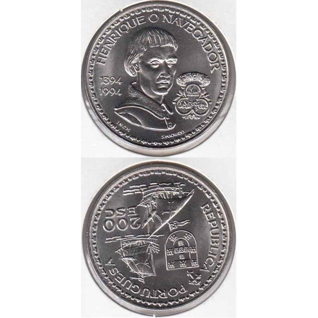 "200$00 CUPRO-NÍQUEL 1994 ""D. HENRIQUE O NAVEGADOR"" (BELA/SOB)"