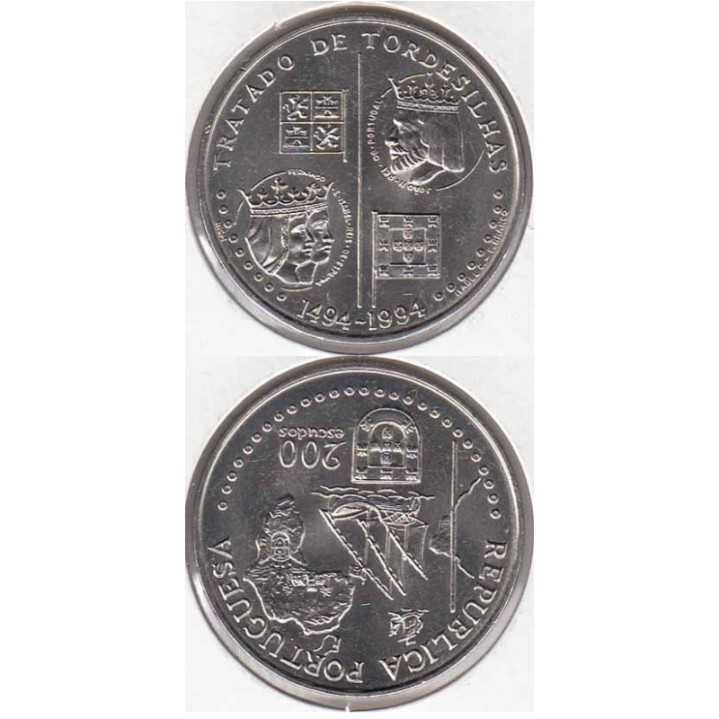 200 Escudos Cupro-níquel 1994 Tratado Tordesilhas (moeda de 200$00 Tratado Tordesilhas)