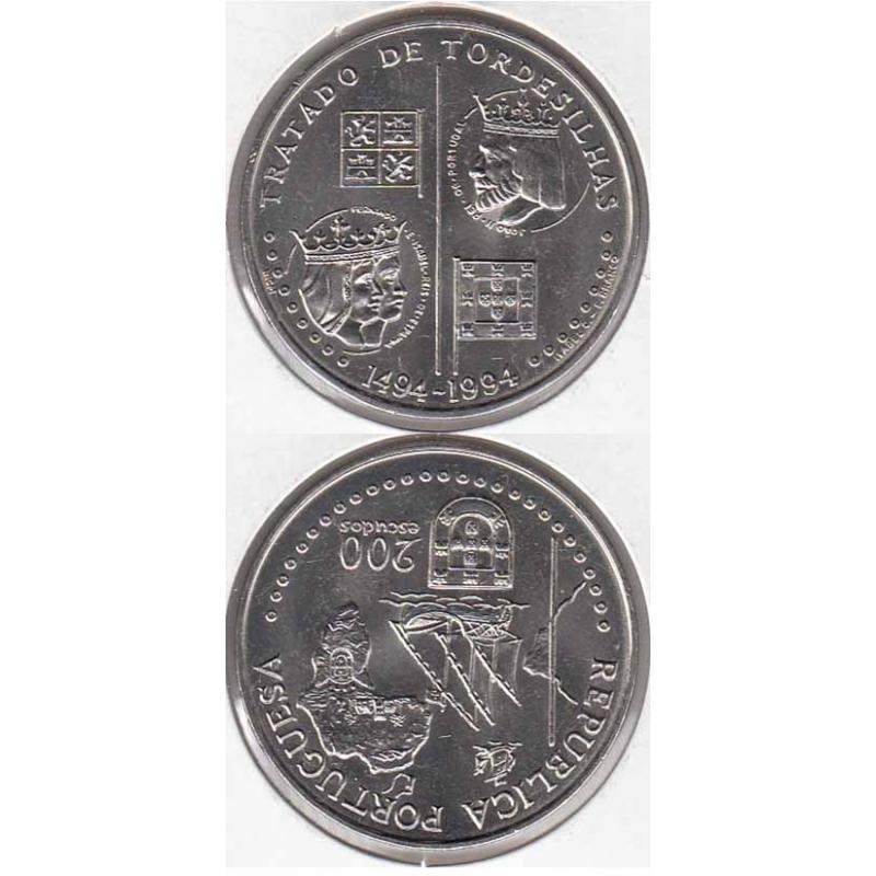 "200$00 CUPRO-NÍQUEL 1994 ""TRATADO TORDESILHAS"" (BELA/SOB)"