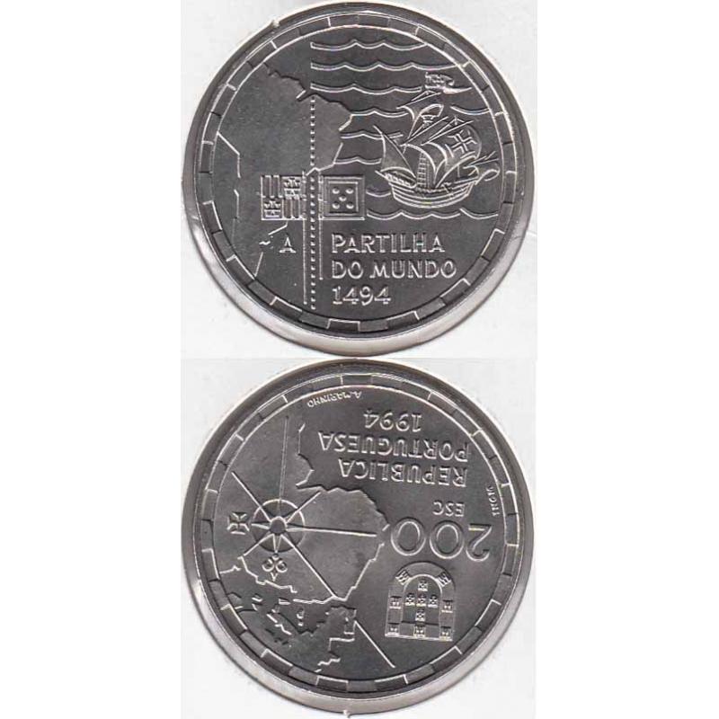 200 Escudos Cupro-níquel 1994 Partilha do Mundo (moeda 200$00 Partilha do Mundo)