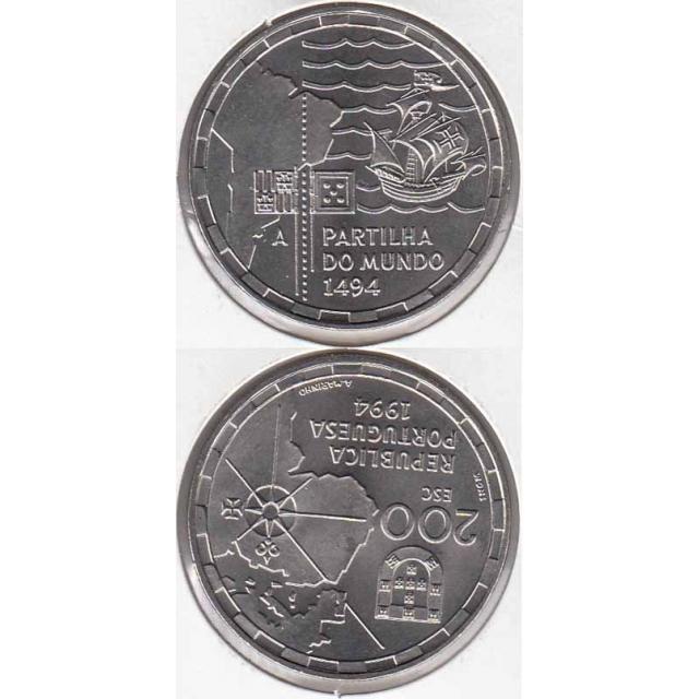 """200$00 CUPRO-NÍQUEL 1994 """"PARTILHA DO MUNDO"""" (BELA/SOB)"""