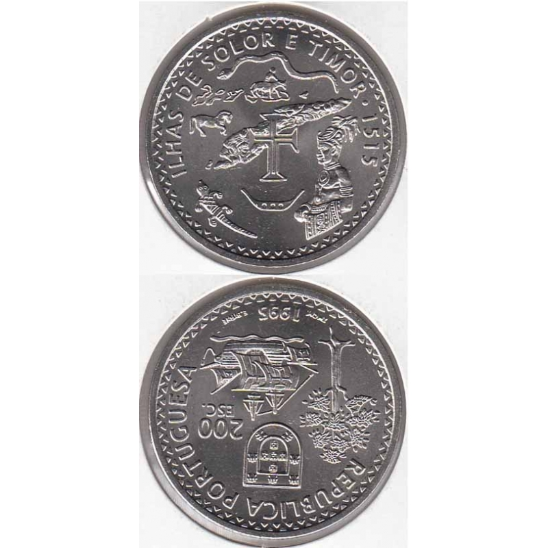 200 Escudos cupro-níquel 1995 Ilhas Solor E Timor (moeda 200$00 Ilhas Solor E Timor)