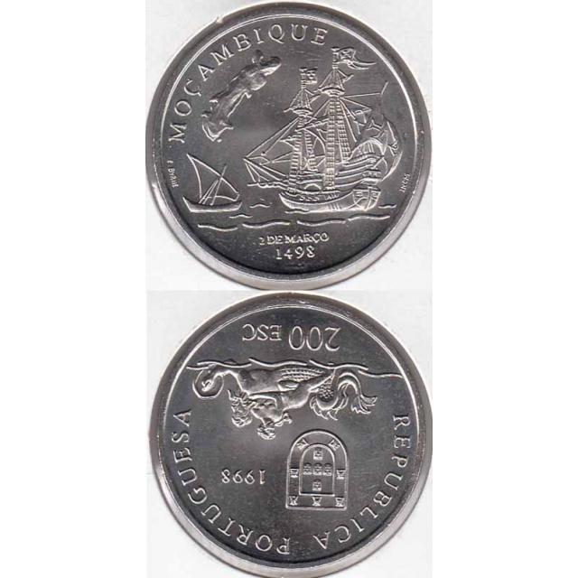 """200$00 CUPRO-NÍQUEL 1998 """"MOÇAMBIQUE"""" (BELA/SOB)"""