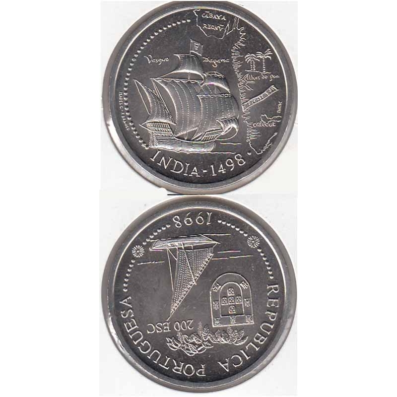 200 Escudos 1998 Índia cupro-níquel (moeda 200$00 Índia)