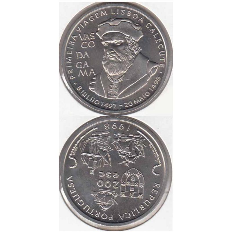 200 Escudos Cupro-níquel 1998 Vasco da Gama (moeda 200$00 Vasco da Gama)