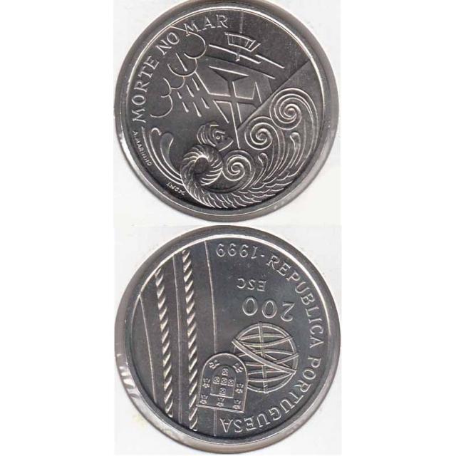 """200$00 CUPRO NÍQUEL 1999 """"MORTE NO MAR"""" (BELA/SOB)"""