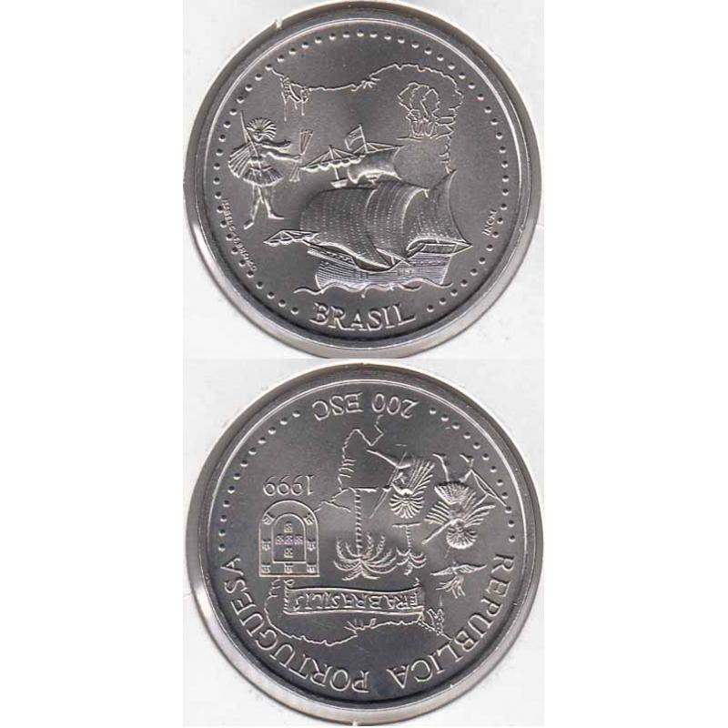 200 Escudos 1999 Brasil cupro-níquel (moeda 200$00 Brasil)