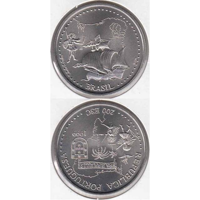 """200$00 CUPRO-NÍQUEL 1999 """"BRASIL"""" (BELA/SOB)"""