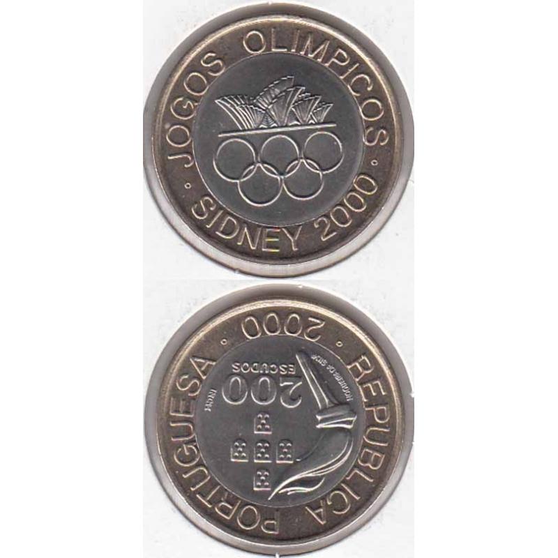 200 Escudos Bimetálica 2000 Jogos Olímpicos Sidney (moeda 200$00 Jogos Olímpicos Sidney)
