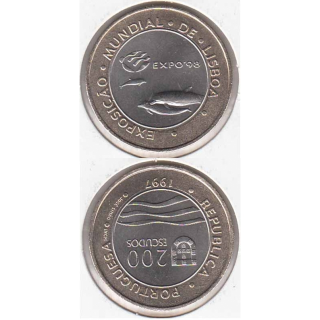 """200$00 BIMETÁLICA 1997 """"EXPO 98 - GOLFINHO"""" (BELA/SOB)"""