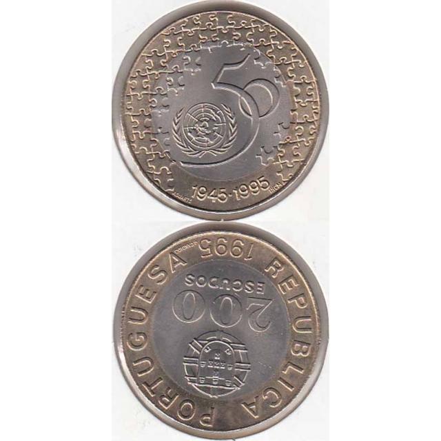 """200$00 BIMETÁLICA 1995 """"50º ANIVERSÁRIO DA ONU"""" (BELA/SOB) (1995)"""
