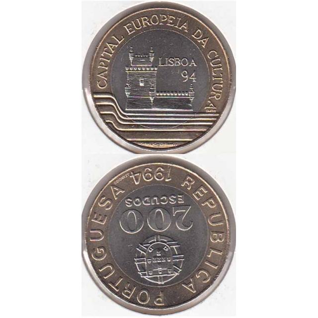 """200$00 BIMETÁLICA 1994 """"LISBOA 94"""" (BELA/SOB)"""