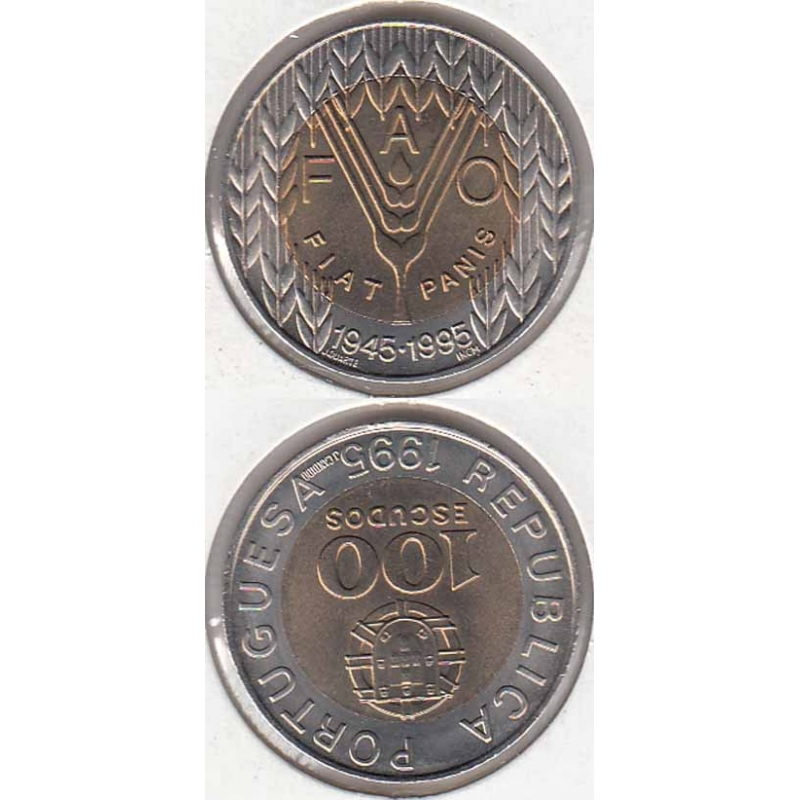 100 Escudos 1995 FAO Bimetálica (moeda 100$00 FAO)