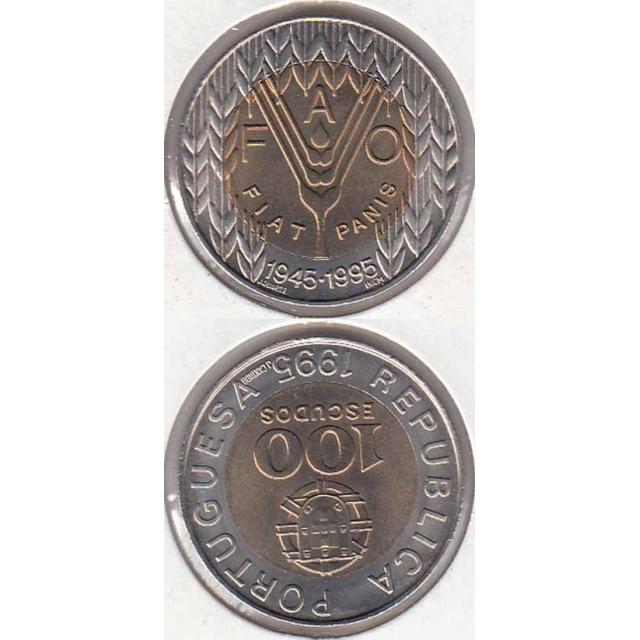 """100$00 BIMETÁLICA 1995 """"FAO"""" (BELA/SOB)"""