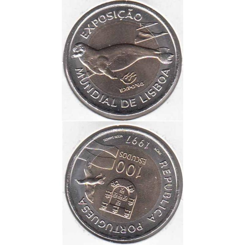 100 Escudos 1997 Expo 98 / Lobo Marinho Bimetálica (moeda 100$00 Lobo Marinho)